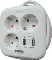 Crystal Audio Πολύπριζο 3 Θέσεων & 2 x USB SUW-3 White
