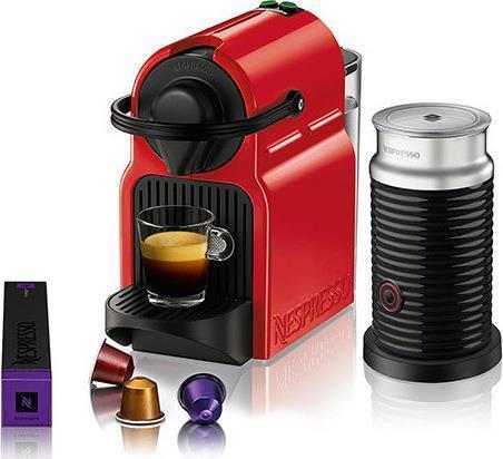 Μηχανές EspressoKrupsXN1015S Inissia Κόκκινο + Aeroccino + Δώρο κάψουλες αξίας 30 ευρώ