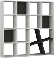 Pakoworld Bιβλιοθήκη Honey λευκό-ανθρακί 125x24x125εκ
