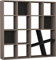Pakoworld Bιβλιοθήκη Honey μόκα-ανθρακί 125x24x125εκ