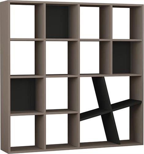 ΒιβλιοθήκεςPakoworldBιβλιοθήκη Honey μόκα-ανθρακί 125x24x125εκ