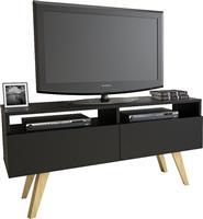 Pakoworld Delight TV Μαύρο Ξύλινα Πόδια 120x37,5x58