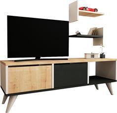 Pakoworld Foxy Tv Λευκό Φυσικό Ανθρακί 120x30x40