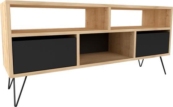 ΚονσόλαPakoworldMack Tv Φυσικό-Μεταλλικό Μαύρο 120x30x58