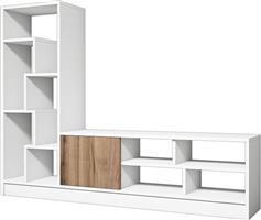 Pakoworld Notex TV Λευκό-Καρυδί 160x30x122