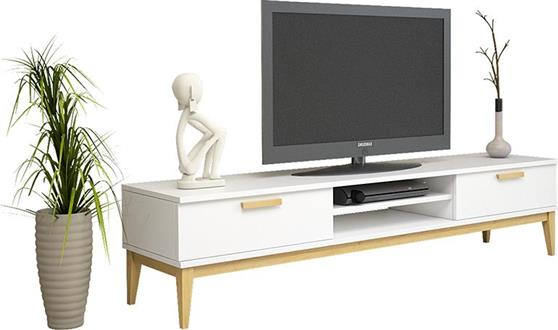 ΚονσόλαPakoworldOde Λευκό με Ξύλινα Πόδια 180x40,5x41εκ