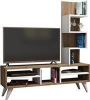 Pakoworld Ring TV Λευκό-Καρυδί 120x30x130