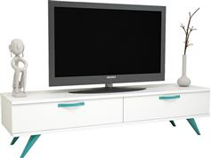 Pakoworld Tv Box Λευκό με Τιρκουάζ 150x40,5x41εκ