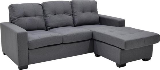 ΚαναπέςPakoworldΓωνιακός καναπές Betty υφασμάτινος γκρι 200x160x90