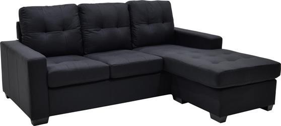 ΚαναπέςPakoworldΓωνιακός καναπές Betty υφασμάτινος μαύρο 200x160x90