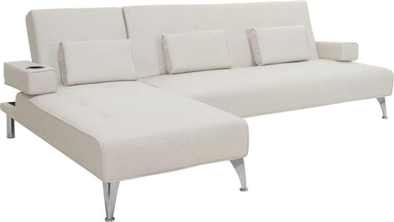 ΚαναπέςPakoworldΓωνιακός καναπές-κρεβάτι Luxury με μπεζ ύφασμα 258x156x84εκ