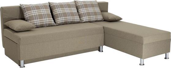 Pakoworld Γωνιακός καναπές-κρεβάτι Tanya ύφασμα μόκα