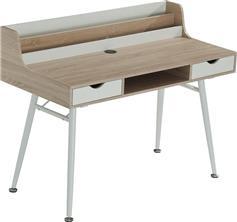 Pakoworld Γραφείο Balena φυσικό ξύλο-λευκό 120x60x94εκ