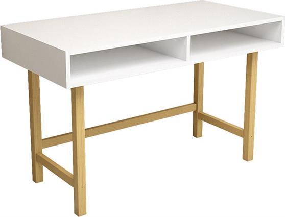 ΓραφείοPakoworldΓραφείο Chic For λευκό με ξύλινα πόδια 120x60x74εκ