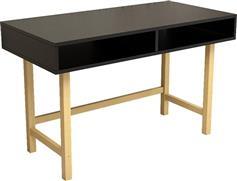 Pakoworld Γραφείο Chic For μαύρο με ξύλινα πόδια 120x60x74εκ