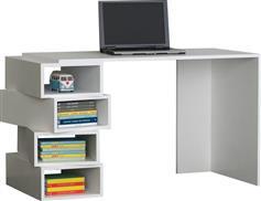 Pakoworld Γραφείο με ραφιέρα Jenga λευκό 130x60x75εκ