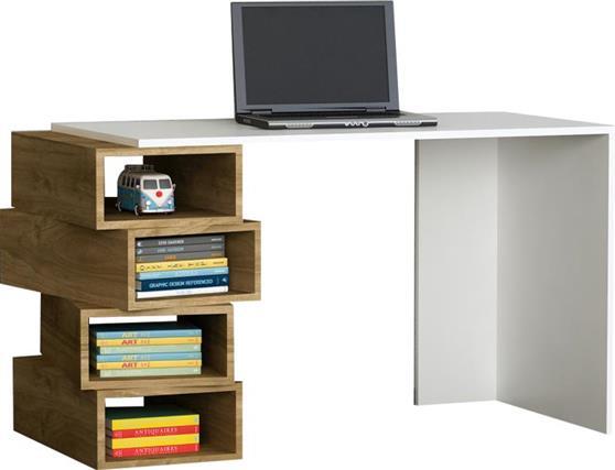 ΓραφείοPakoworldΓραφείο με ραφιέρα Jenga λευκό-καρυδί 130x60x75εκ