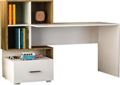 Pakoworld Γραφείο με βιβλιοθήκη Bloom λευκό-καρυδί 153x60x105εκ