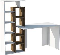 Pakoworld Γραφείο Poly με βιβλιοθήκη λευκό 180x60x148