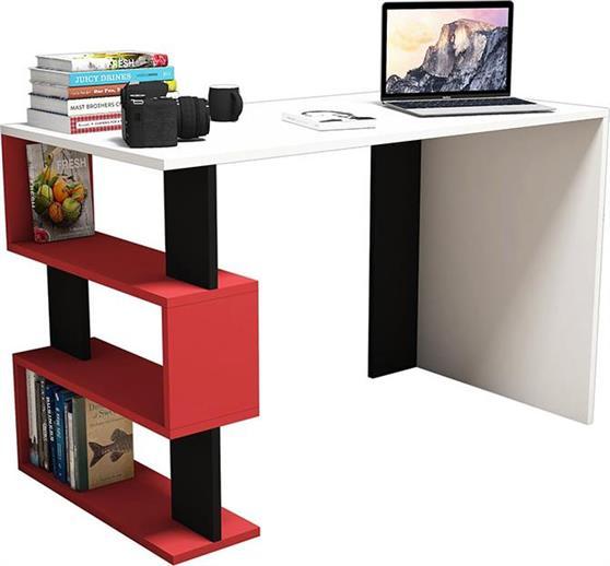 ΓραφείοPakoworldΓραφείο SNAP λευκό με κόκκινο/μαύρο 120x60x75εκ