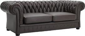 Pakoworld Καναπές 3θέσιος Δερματίνη τύπου chesterfield σκούρο καφέ 210x90x75