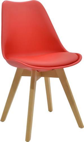 ΚαρέκλαPakoworldΚαρέκλα Gaston Πολυπροπυλένιο-Δερματίνη κόκκινο