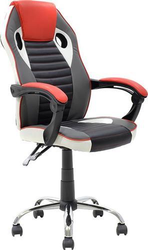 Καρέκλα ΓραφείουPakoworldΚαρέκλα Speed Δερματίνη μαύρο-κόκκινο-γκρι