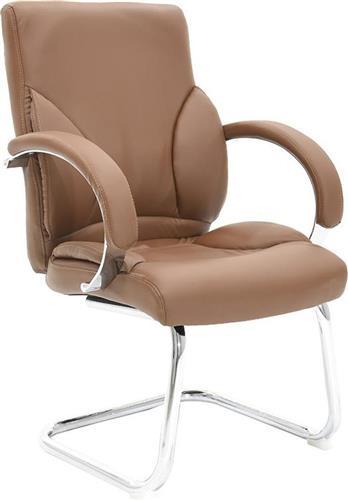 Καρέκλες ΥποδοχήςPakoworldΚαρέκλα επισκέπτη Filippo Δερματίνη σκούρο καφέ