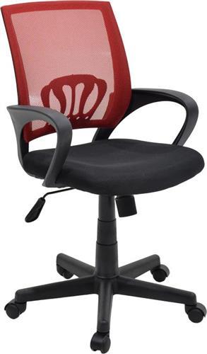 Καρέκλα ΓραφείουPakoworldBerto ύφασμα mesh μαύρο-κόκκινο
