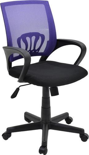 Καρέκλα ΓραφείουPakoworldBerto ύφασμα mesh μαύρο-μωβ