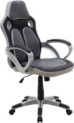 Καρέκλα ΓραφείουPakoworldΚαρέκλα FREDDY Δερματίνη μαύρο-γκρί