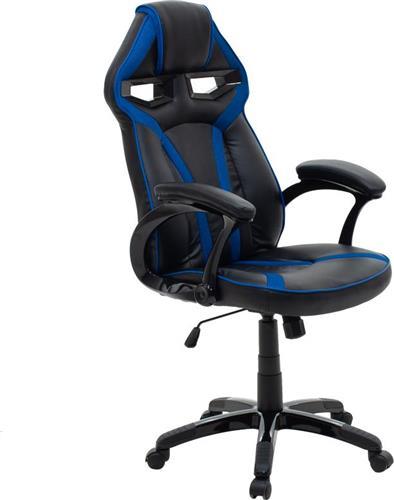 Καρέκλα ΓραφείουPakoworldΚαρέκλα MARIO Δερματίνη μαύρο-μπλε