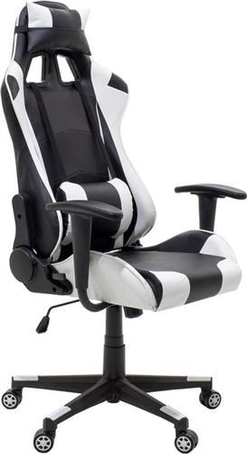 Καρέκλα ΓραφείουPakoworldΚαρέκλα Gaming GT-R3 Δερματίνη ασπρό-μαύρο