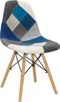 Pakoworld Καρέκλα Julita ύφασμα μπλε patchwork