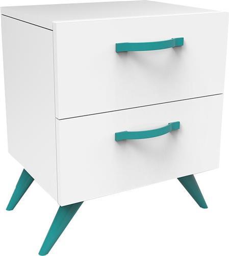 Pakoworld Κομοδίνο Box λευκό-τυρκουάζ 44,5x37x55,5εκ