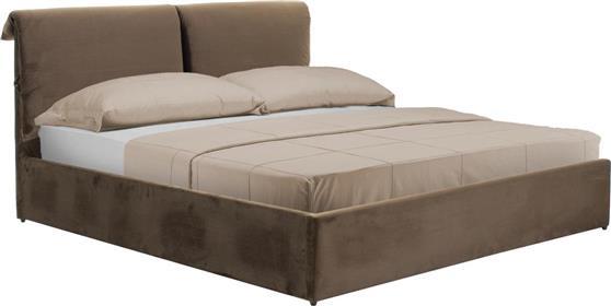 ΚρεβάτιαPakoworldΚρεβάτι KATIA διπλό 160x200εκ ύφασμα καφέ
