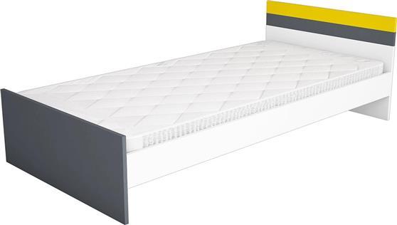 ΚρεβάτιαPakoworldΚρεβάτι μονό SWAN λευκό-ανθρακί-κίτρινο 90x190εκ