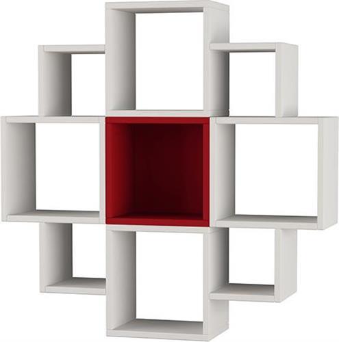 Ραφιέρες τοίχου & ΡάφιαPakoworldFiore Λευκό-Σκούρο Κόκκινο 93,5x22x93,5