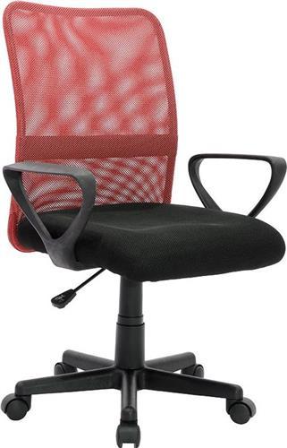Καρέκλα ΓραφείουPakoworldJordan Mesh Μαύρο-Κόκκινο Παιδική