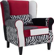 Pakoworld Πολυθρόνα-μπερζέρα Rainbow Zebra πολύχρωμο ύφασμα