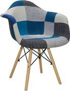 Pakoworld Πολυθρόνα Julita ύφασμα μπλε patchwork