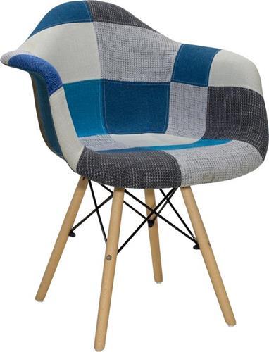 ΚαρέκλαPakoworldΠολυθρόνα Julita ύφασμα μπλε patchwork