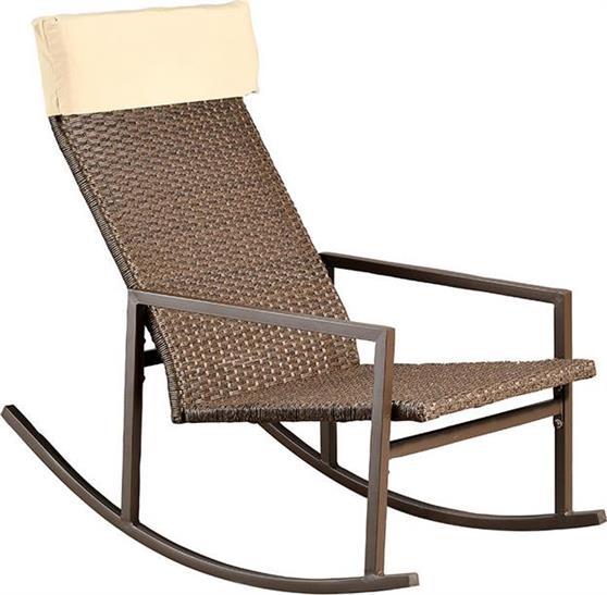 Καρέκλες Εξωτερικού ΧώρουPakoworldRock Κουνιστή Σκούρο Καφέ με Μαξιλάρι