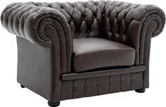 Pakoworld Πολυθρόνα τύπου chesterfield Δερματίνη σκούρο καφέ 125x90x75