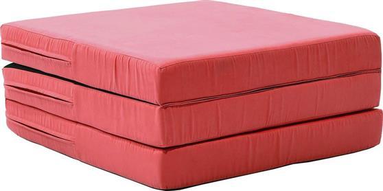 ΠουφPakoworldΠουφ - κρεβάτι Karma ύφασμα κόκκινο