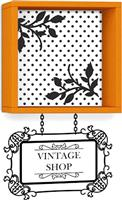 Pakoworld Vintage πορτοκαλί με αυτοκόλλητο 34x20x34εκ