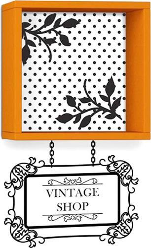 Ραφιέρες τοίχου & ΡάφιαPakoworldVintage πορτοκαλί με αυτοκόλλητο 34x20x34εκ