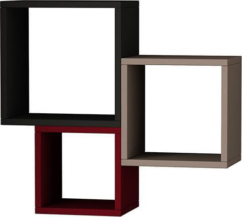 Ραφιέρες τοίχου & ΡάφιαPakoworldKutugen Ανθρακί-Μόκα-Σκούρο Κόκκινο 65x20x60