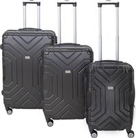 Pakoworld Σετ βαλίτσες Galaxy 3ων τμχ τροχήλατες σκληρές από ABS ανθρακί