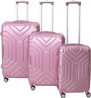 Pakoworld Σετ βαλίτσες Galaxy 3ων τμχ τροχήλατες σκληρές από ABS ροζ